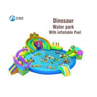 Wholesale dinosaur kingdom giant inflatable water park slide with pool from china suppliers