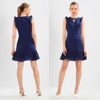 Wholesale 100% Cotton Women Blue Sleeveless Mini Dress from china suppliers